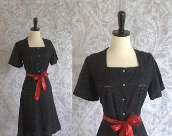 Vintage 1950s Black Dress Eyelet Dress Cocktail Party Rhinestone Buttons Dress Size Large