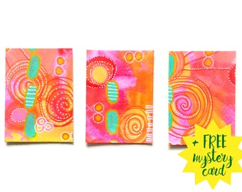 Aceo Set of 3 + 1 Free / Aceo originals / Art Cards / Trading Cards / Artist Trading Cards x3 / ATC