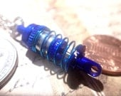 Auto Racer, Mechanic mini Shock, strut Necklace blue and silver with teal spring