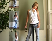Boho Halter Top Open Back T Shirt Cowl Draped Tie Back Tank Top V Neck Tank Long Backless Blouse in Jersey (More Colours) XS - L