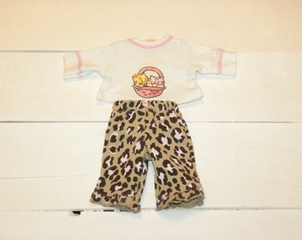 Patterned Pants and White Tshirt - 12 inch doll clothes