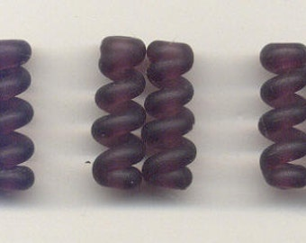 Tom's lampwork satin (etched) frosted dark amethyst twist cylinder beads, drops, spacers 20mm, 2 beads, 1 pair, 97534-2