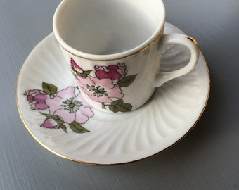 Vintage Espresso Cup and Saucer with Asian Flare