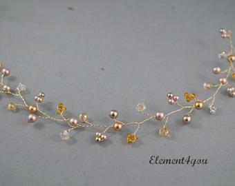Bridal hair vines, Bridal hair accessory, Champagne gold hair vines, Pearls Crystals silver hair vines. Fall wedding hair vines, Rustic vine