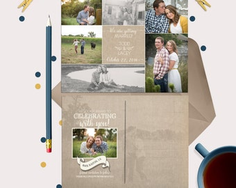 Rustic Wedding Save the Date Post Card or Magnet - includes 8 photos!