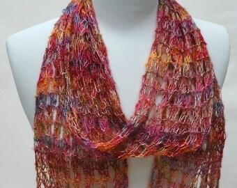 Cotton Blend Scarf/ Hand Knit/ Burnt Orange, Gold, Multicolored