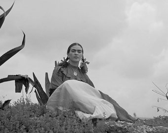 Frida Kahlo Under Cloudy Sky with Agave Latina Artist Portrait Mexico Mexican Mexicana 1930s Reprint Black & White Photography Photo Print