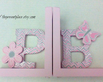 Hand painted initial bookends, pink, grey, gray, butterfly,flower, chevron,pink and grey chevron,kids bookends,children's bookends,initials
