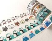 Die Cut Japanese Washi Masking Tape / Mountain Fuji, Panda, Sumo,  for scrapbooking, packaging, invitation, card, tag making