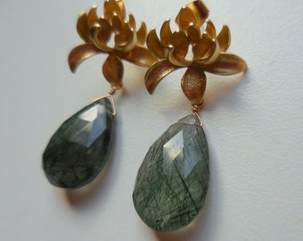 Gold Lotus Post Earrings with Tourmalinated Quartz Teardrops - Faceted Gemstone Earrings