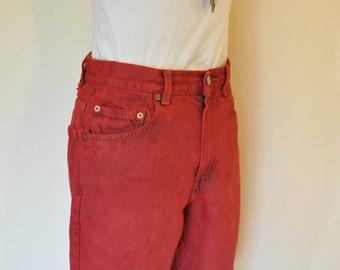 "Red Mens Sz 30 Levi's 505 Denim SHORTS - Scarlet Red Dyed Denim Vintage Levi's 505 Jean Shorts - Adult Mens Size 30"" Waist"