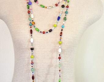 "Beaded NECKLACE - Long 22"" (44"") Multiple Primary Colors Blue Green Red Aqua Orange Seed Bead Glass Bead - Goes with Everything Necklace 42"