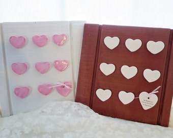 Personalized Secret Message Board, Hearts, Wedding Gift, Anniversary Gift, Pottery, 9th annivesary, Birthday, Personalized