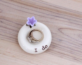 I do ring holder, engagement ring dish, custom ring dish, flower ring holder, custom engagement gift, personalized ring bowl