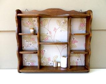 vintage wood wall shelf curio with fabric backing