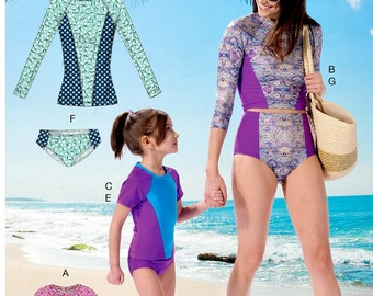 Mommy and Me Swimsuit Pattern, Protective Cover Swimsuit Pattern, McCall's Sewing Pattern 7417