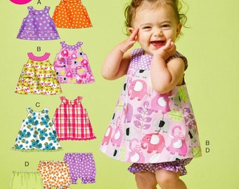 Toddlers' Sundress Pattern, Baby Top and Bloomers Pattern, Infant Pull-on Pants Pattern, Sz 8 to 29 lbs, McCall's Sewing Pattern 6912