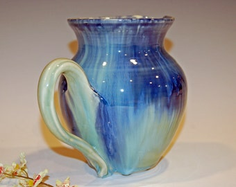 Ceramic Pitcher, Pottery Pitcher, Blue and Green, Drink and Barware, Barware, Ceramics and Pottery