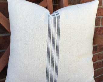 Grain Sack Pillow Cover Blue Stripe / Ticking