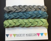 Grey, slate blue and sage green Braided Leather Bracelets