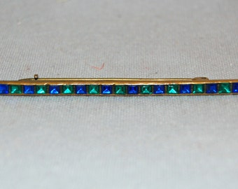 Vintage / Antique / Victorian / Brooch / Rhinestone / Bar Pin / Blue / Green / C Clasp / old jewelry