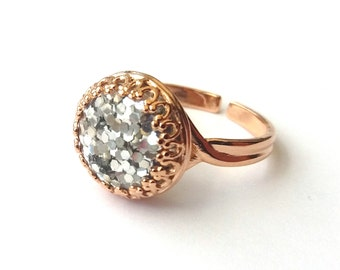 Rose Gold Plated Silver Glitter Ring, Gold Ring, Glitter Cabochon, Sparkle Ring, More Colours, or Choose Sterling Silver, Yellow Gold