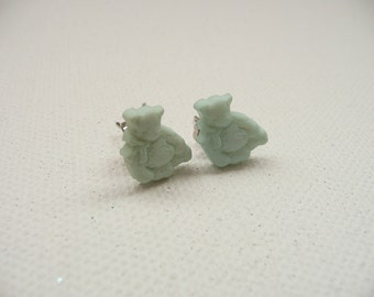 ns-Small Green Teddy Bear Stud Earrings
