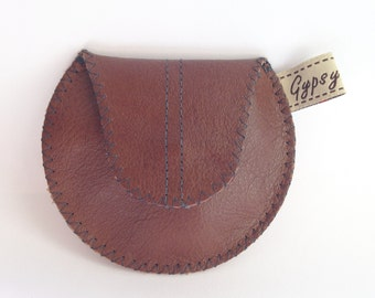 Men's Leather Change Purse / Coin Purse Mini Gypsy Guys / Brown Leather and Recycled Silk Tie