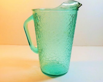 Modern Aqua Crackle  Glass Pitcher by Jeannette, Imperial Glass, Tree of Life, 2 quart