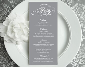 Wedding Menu - Style M22 - GRACEFUL COLLECTION | wedding menu | table menu | reception menu - Printable