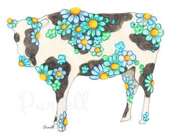 Baby Blue Daisy Cow 10 x 8 inch Floral Art Print- Wall Art Home Decor