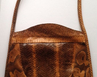 MOD-SALE! Vintage Snakeskin Purse Messenger Shoulder Bag Purse 1960s Vintage Python Leather Messenger Handbag Purse