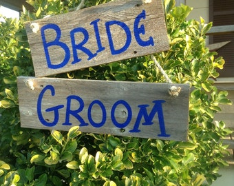 Ready to Ship Bride and Groom Western Rustic Beach Wedding Royal Blue Sign Bridal Barn Wood Chair Hangers Photo Prop