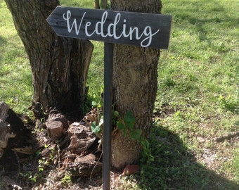 Rustic Modern Wood Wedding Ceremony Sign on Stake Country Cursive Script Directional Arrow