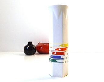 vintage 80s ftd rainbow flower vase white ceramic pottery stripes modern mod futuristic gay pride japan home decor decorative tall bud retro