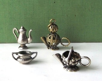 vintage 1970's charms miniature teapots coffee pots sugar bowl silver brass metal mini jewelry collectible womens fashion collection set 4