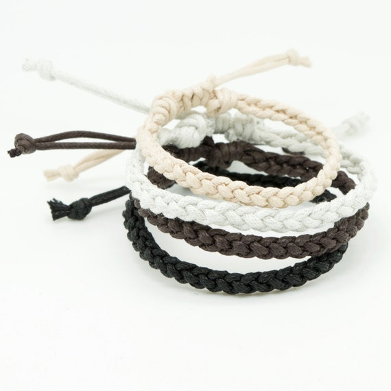 Mens simple black white beige brown waxed cotton cord braided friendship bracelet - choose your colour