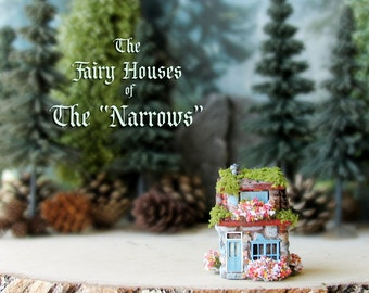 "The Fairy Houses of The ""Narrows"" - Enchanted N Scale Stone Cottage with Flower Boxes, Mossy Tile Roof and Colorful Door - Terrarium Decor"