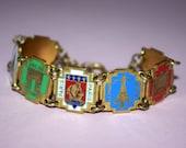 1940s Art Deco enamel Paris souvenir panel link bracelet