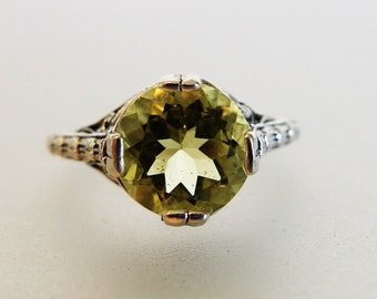 Beautiful Deco Style Lemon Citrine Sterling Filigree Ring