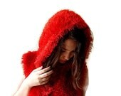 Hoody Cardigan / Sweater Hoodie / Hand knitted  Hooded Red Vest/ Knitted Hoodie/ Chunky Jacket/ Boho Bolero/Furry Hooded Vest size S / M