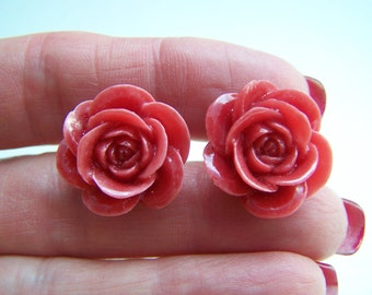 Light Red Rose Earrings - Resin Floral Stud Earrings Doodaba