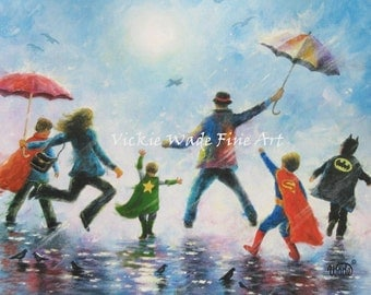 Four Boys Art Print, four super hero boys, singing in the rain art, four brothers, mom and dad, four sons, family wall art, Vickie Wade Art