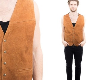 SALE . Mens BROWN SUEDE Vest .  Vintage 1990s Sleeveless Top Leather Biker Rocker 90s Moto Waistcoat Man 80s Boyfriend Gift Idea . Large Xl