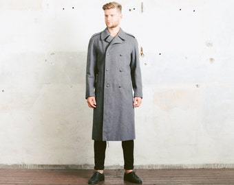 Mens Wool Coat . 1970s MILITARY GREATCOAT Swedish Grey Overcoat Army 60s Officers Jacket Double Breasted Military . size Large