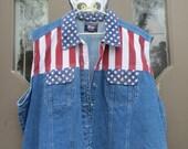 Jean vest Vintage 1990s Stars and Stripes Quizz Denim Blue  Women's size   xlarge