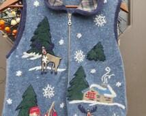 vtg ugly CHRISTMAS acrylic angora ramie SNOWMAN fishing cabin moose  snowflakes sz med