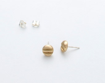 LOW TIDE STUDS -- Cast Bronze - Modern Stud Earrings - Sterling Silver Posts