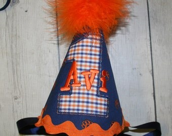 Orange and Blue First Birthday hat, Personalized Birthday Hat, Tiger Paws Birthday Hat, Cake smash birthday hat