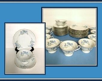 Walbrzych Poland Porcelain Tea Cups, Saucers, Dessert Plates, 30 Pieces, Blue Flowers, Embossed Scrolls,  Vintage 1960's